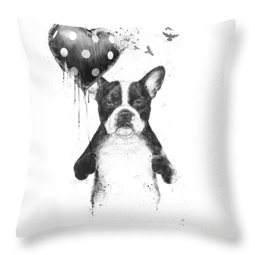 Bulldog Throw Pillow featuring the mixed media My heart goes boom by Balazs Solti