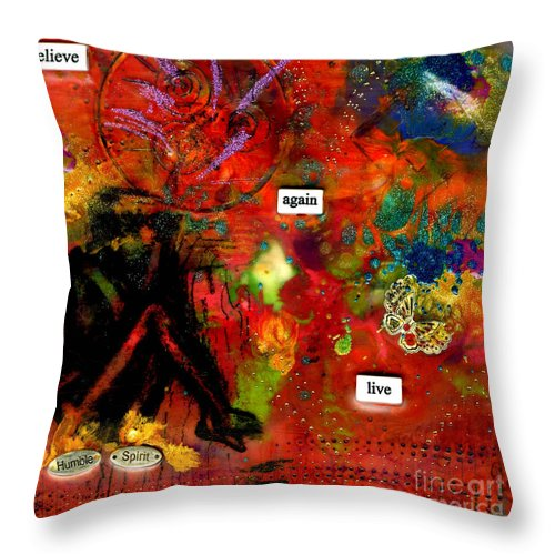 Wood Throw Pillow featuring the mixed media My Humble Spirit by Angela L Walker