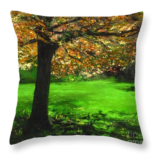 Spiritualism Throw Pillow featuring the painting My Love Of Trees I by Lizzy Forrester