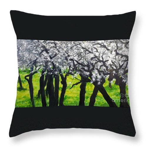 Almond Blossom Throw Pillow featuring the painting My Love Of Trees II by Lizzy Forrester