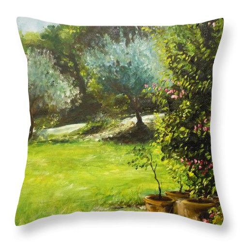 Green Throw Pillow featuring the painting My Love Of Trees IIi by Lizzy Forrester