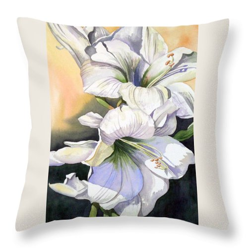 Flower Throw Pillow featuring the painting My Love by Tatiana Escobar