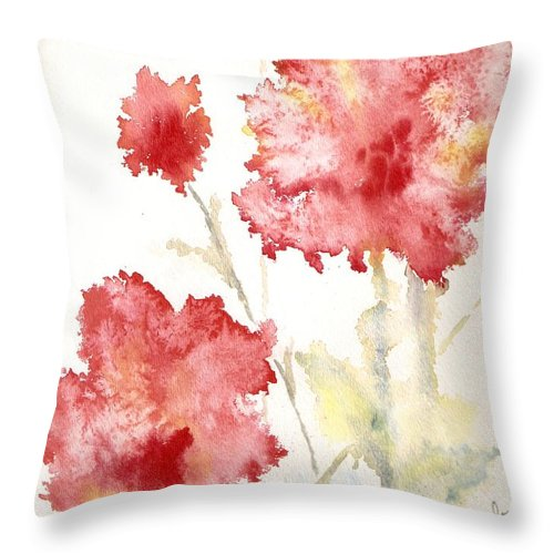 Flowers Throw Pillow featuring the painting My Magic Garden by Jackie Mueller-Jones