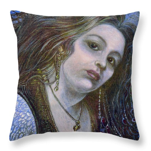 Fantasy Throw Pillow featuring the painting My Mermaid Christan by Otto Rapp