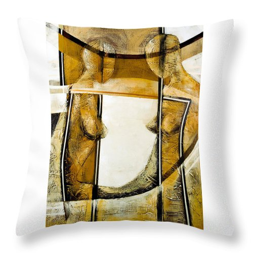 Figurative Abstract Throw Pillow featuring the painting My Mirror 2 by Milda Aleknaite