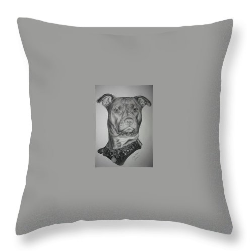 Dog Throw Pillow featuring the drawing My Mooch by Dennis Stuchel