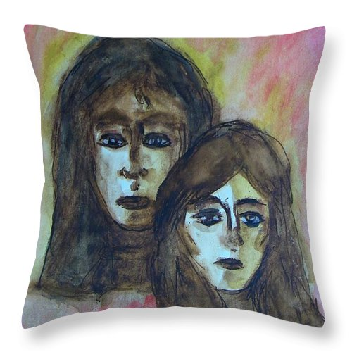 Abstract Throw Pillow featuring the painting My Mother -- My Self by Judith Redman