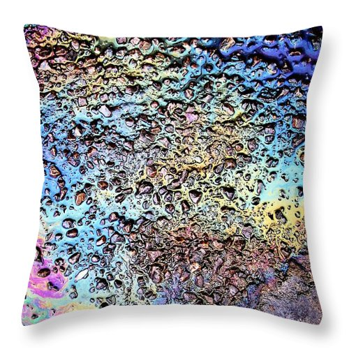 Asphalt Oil Rainbow Abstract Art Throw Pillow featuring the photograph My Obsession With Asphalt I by Anna Villarreal Garbis