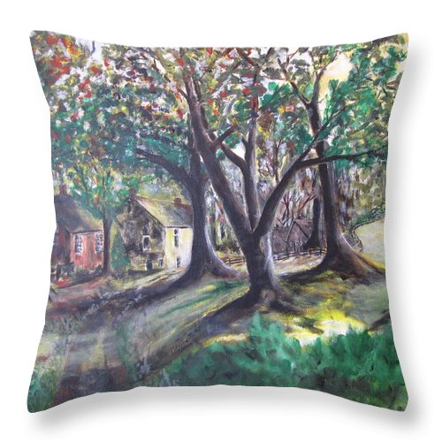 Abstract Throw Pillow featuring the painting My Old Southern Plantation Home by Gary Smith