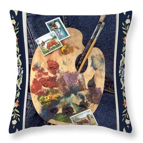 Artist's Palette Throw Pillow featuring the digital art My Palette by Melody Horton Karandjeff