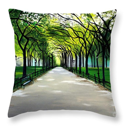 Landscape Throw Pillow featuring the painting My Poet's Walk by Elizabeth Robinette Tyndall