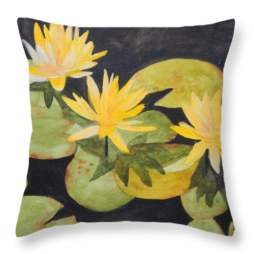 Waterlilies Throw Pillow featuring the painting My Pond by Jean Blackmer