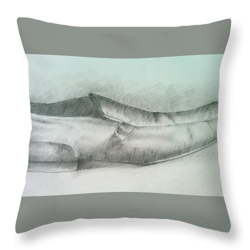 Drawings Throw Pillow featuring the drawing My Shoe by Olaoluwa Smith