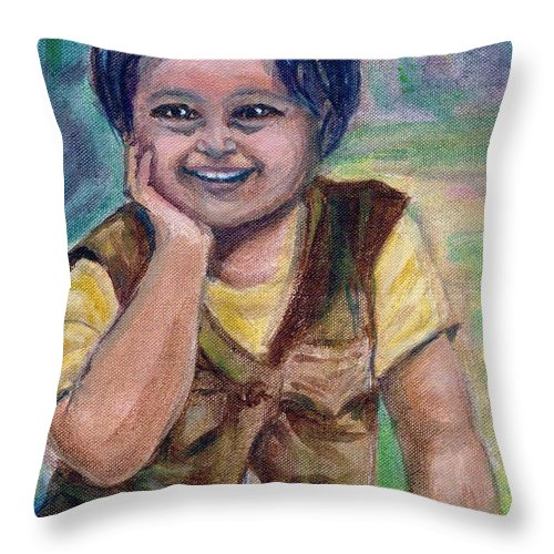 Little Boy Throw Pillow featuring the painting My Son When He Was A Toddler by Asha Sudhaker Shenoy