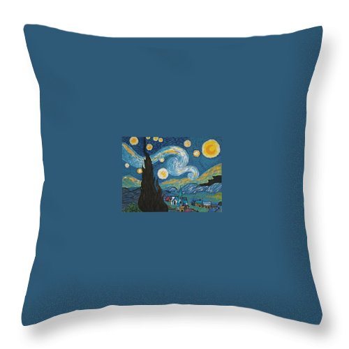 Vincent Throw Pillow featuring the painting My Starry Nite by Angela Miles Varnado