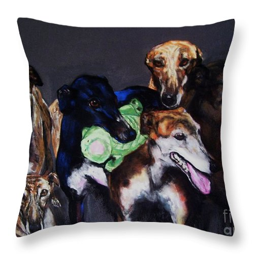 Greyhounds Throw Pillow featuring the painting My Teachers by Frances Marino