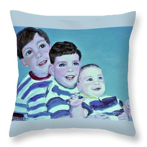 Children Throw Pillow featuring the painting My Three Sons by Laurie Morgan