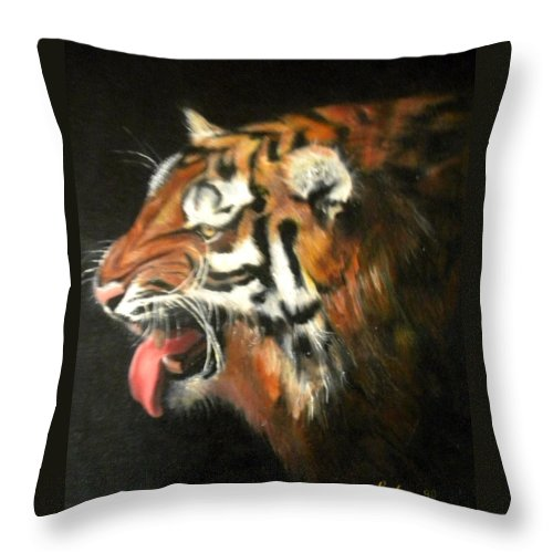 Tiger Throw Pillow featuring the painting My Tiger - The Year Of The Tiger by Jordana Sands