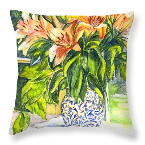 Lily Throw Pillow featuring the painting My Tigers by Carol Wisniewski