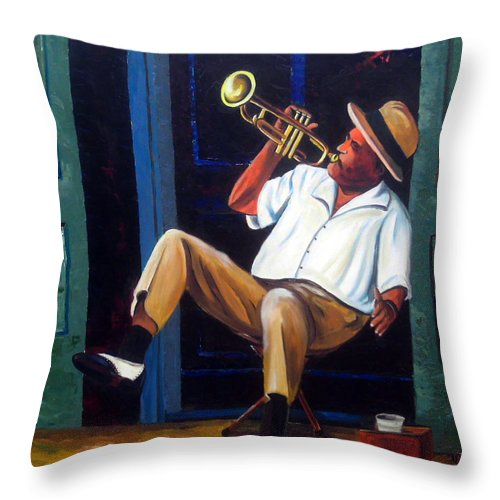 Cuba Art Throw Pillow featuring the painting My Trumpet by Jose Manuel Abraham