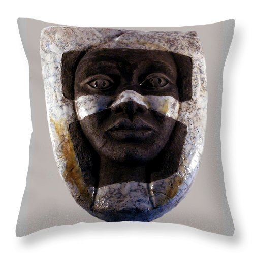 Ceramic Throw Pillow featuring the relief My Veils I by Madalena Lobao-Tello