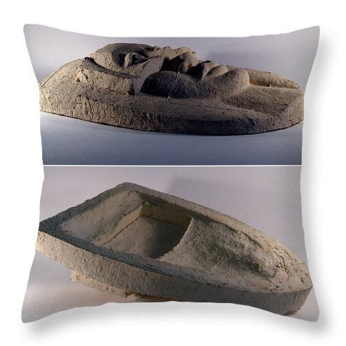 Ceramic Relief Throw Pillow featuring the relief My Veils II by Madalena Lobao-Tello