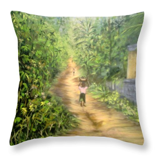 Culture Throw Pillow featuring the painting My Village by Olaoluwa Smith