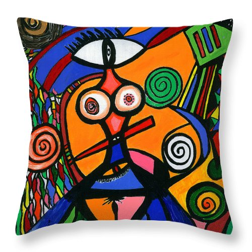 Feelings Throw Pillow featuring the painting My Woman by Safak Tulga