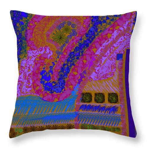 Abstract Colors Pinks Blues Fabricdesign Throw Pillow featuring the digital art My Yard 2 by Suzanne Udell Levinger