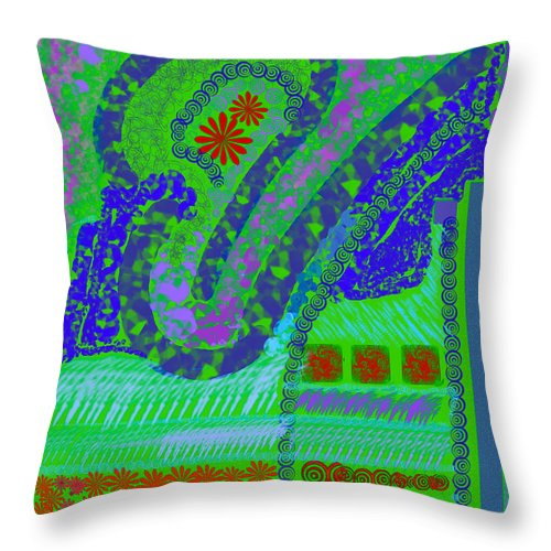 Abstract Colors Fabricdesign Blues Greens Throw Pillow featuring the digital art My Yard 3 by Suzanne Udell Levinger