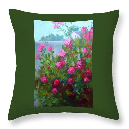 Climing Red Roses On Fence Throw Pillow featuring the painting Myback Yard Roses by Patricia Kness