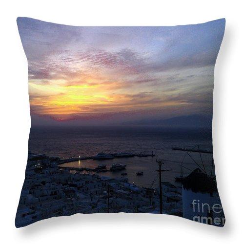 Mykonos Throw Pillow featuring the photograph Mykonos Sunset Greece by J K