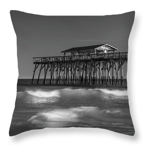 Pier Throw Pillow featuring the photograph Myrtle Beach Pier Panorama In Black And White by Ranjay Mitra