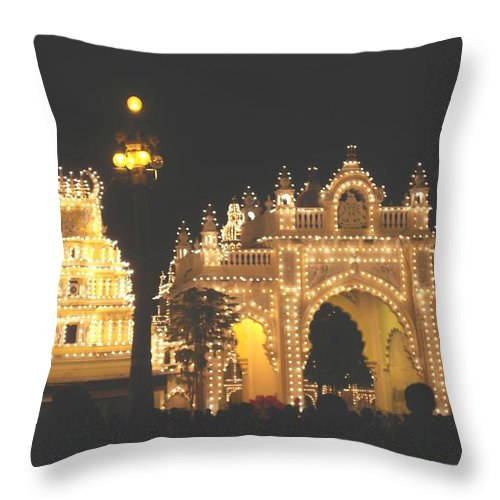 Mysore Throw Pillow featuring the painting Mysore Palace Main Gate Temple Gloriously Lit At Night by Usha Shantharam