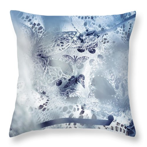 Masquerade Throw Pillow featuring the photograph Mysterious Carnival Mask by Jorgo Photography - Wall Art Gallery