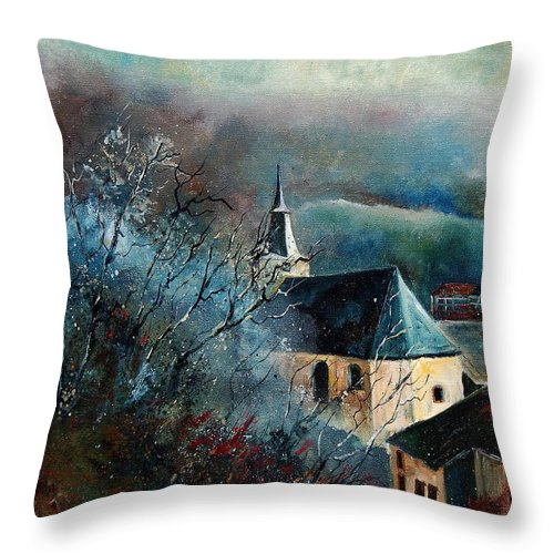 Tree Throw Pillow featuring the painting Mysterious Chapel by Pol Ledent
