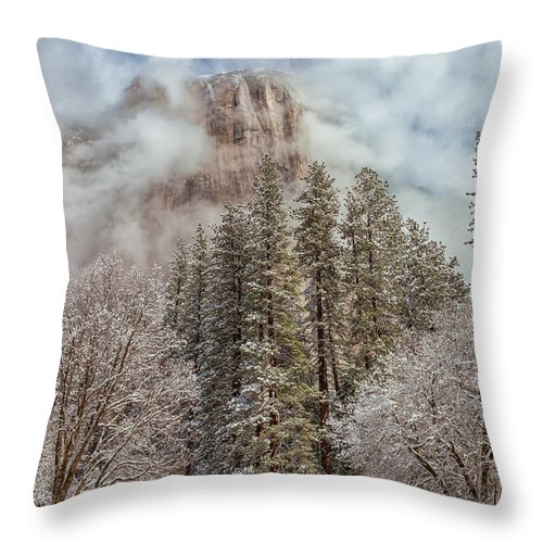 Landscape Throw Pillow featuring the photograph Mysterious El Capitan by Jonathan Nguyen