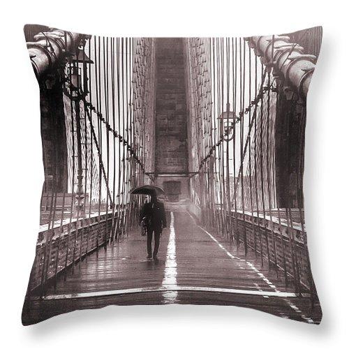 Brooklyn Bridge Throw Pillow featuring the photograph Mystery Man Of Brooklyn by Az Jackson