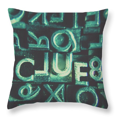 Clue Throw Pillow featuring the photograph Mystery Writer Clue by Jorgo Photography - Wall Art Gallery