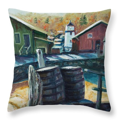 New England Throw Pillow featuring the painting Mystic Harbor by Rick Nederlof