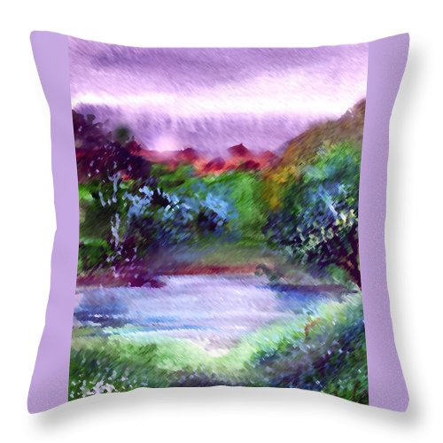 Lake Throw Pillow featuring the painting Mystic Lake by Anil Nene