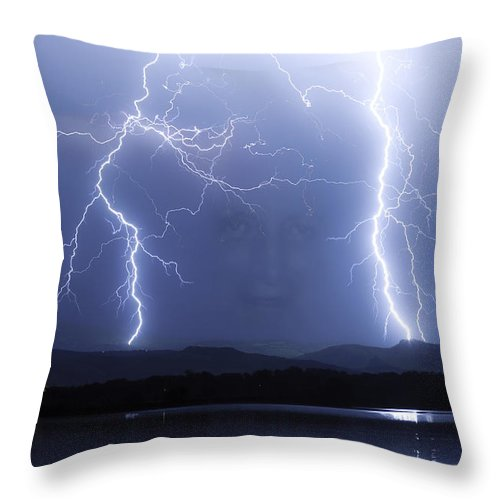 Lightning Throw Pillow featuring the photograph Mystic Lightning Storm by James BO Insogna