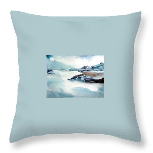 River Throw Pillow featuring the painting Mystic River by Anil Nene