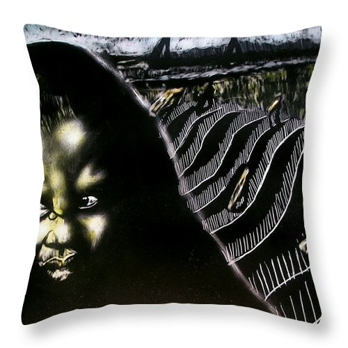 Throw Pillow featuring the mixed media Mystic Waves by Chester Elmore