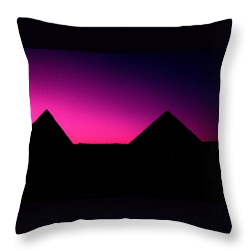 Pyramids Throw Pillow featuring the photograph The Pyramids At Sundown by Gary Wonning