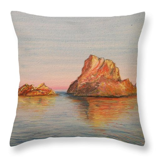 Island Throw Pillow featuring the painting Mystical Island Es Vedra by Lizzy Forrester