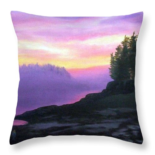 Sunset Throw Pillow featuring the painting Mystical Sunset by Sharon E Allen