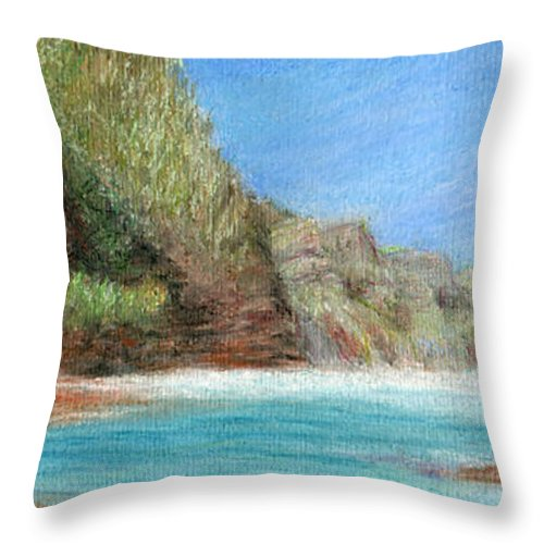 Rainbow Colors Pastel Throw Pillow featuring the painting Na Pali by Kenneth Grzesik