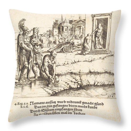 Throw Pillow featuring the drawing Naaman Is Cured Of Leprosy by Augustin Hirschvogel