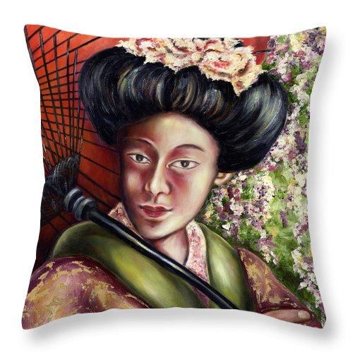 Japanese Throw Pillow featuring the painting Nadeshiko by Hiroko Sakai